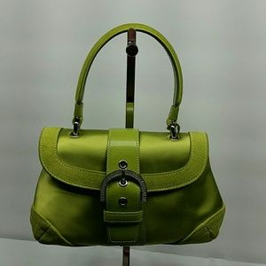 COACH PAVE MADISON GREEN SILK AND SUEDE EVENIN BAG